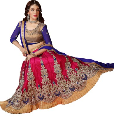 Styles Closet Net Embroidered Semi-stitched Lehenga Choli Material