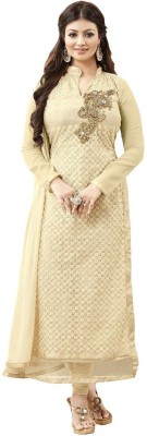 Style Mania Beige Colored Net & Georgette Embroidered Salwar Suit Net Embroidered Salwar Suit Dupatta Material