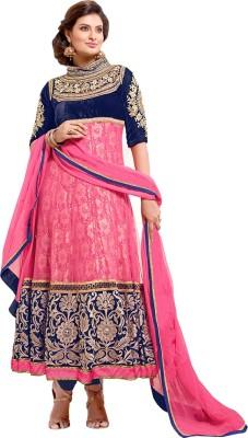 Skyblue Georgette Self Design Semi-stitched Salwar Suit Dupatta Material