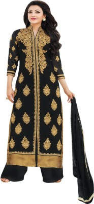 Miss Charming Georgette Self Design Semi-stitched Salwar Suit Dupatta Material