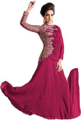 MusicMania Georgette Embroidered Semi-stitched Salwar Suit Dupatta Material