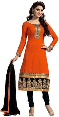 HITESH ENTERPRISE Chanderi Embroidered Semi-stitched Salwar Suit Dupatta Material