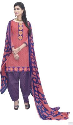 Fabcart Jacquard Embroidered Semi-stitched Salwar Suit Dupatta Material