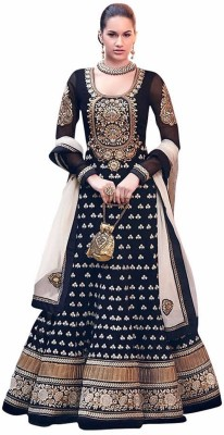 Royalblue Georgette Solid Semi-stitched Salwar Suit Dupatta Material