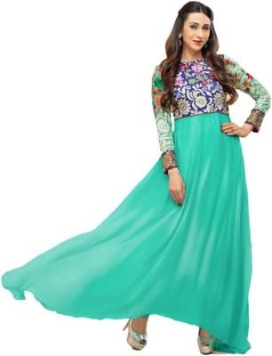 Wonder Trendz Georgette Embroidered Semi-stitched Salwar Suit Material