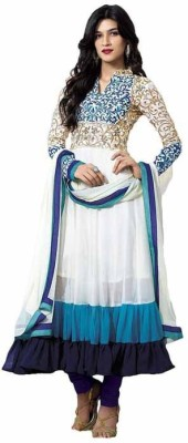 Shopping Queen Georgette Embroidered Semi-stitched Salwar Suit Material