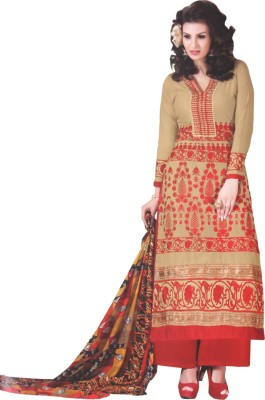I Heart Fashion Cotton Embroidered Semi-stitched Salwar Suit Dupatta Material