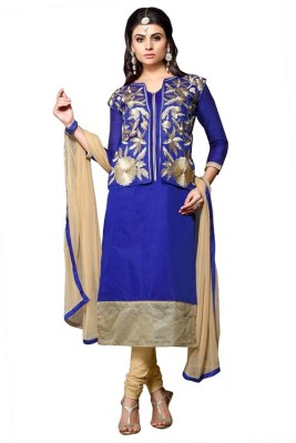 Parishi Fashion Chanderi Embroidered Salwar Suit Dupatta Material(Un-stitched)