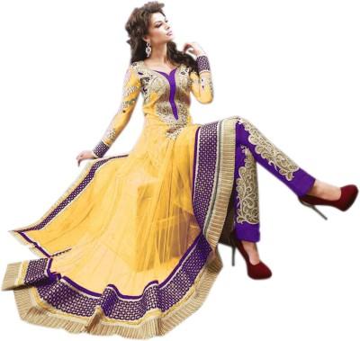 Thankar Net Embroidered Semi-stitched Salwar Suit Dupatta Material