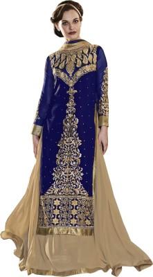 Khushali Georgette, Chiffon Self Design, Embroidered, Embellished Semi-stitched Lehenga Choli Material