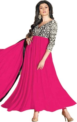 Fancyfashion Georgette Embroidered Semi-stitched Salwar Suit Dupatta Material