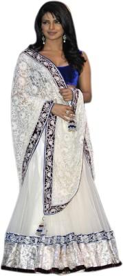 Fabliva Net Embroidered Semi-stitched Lehenga Choli Material