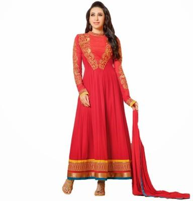 Javuli Brocade, Art Silk, Organza Embroidered Semi-stitched Salwar Suit Dupatta Material