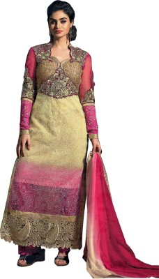 Sanchey Net, Georgette Embroidered Semi-stitched Salwar Suit Dupatta Material