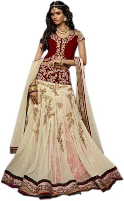 mGm Creation Net, Brasso Self Design Semi-stitched Lehenga Choli Material