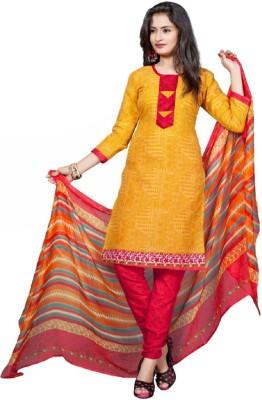 Shahlonb Cotton, Chiffon Printed Semi-stitched Salwar Suit Dupatta Material
