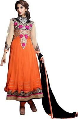 MySarees Net Embroidered Semi-stitched Salwar Suit Dupatta Material