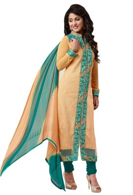 Ligalz Georgette Embroidered Semi-stitched Salwar Suit Dupatta Material