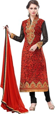 Fab Craft Georgette Embroidered Semi-stitched Salwar Suit Dupatta Material