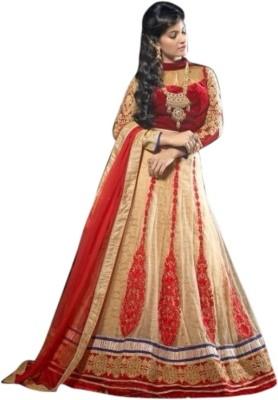 Lime Mode Net, Velvet Self Design Semi-stitched Salwar Suit Dupatta Material