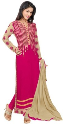 Nm Textile Georgette Embroidered Semi-stitched Salwar Suit Material