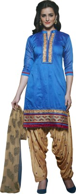 Kvsfab Chanderi Embroidered Salwar Suit Dupatta Material(Un-stitched)