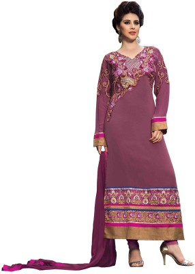 F3 Fashion Georgette Embroidered Semi-stitched Salwar Suit Dupatta Material