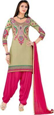 Vandv Shop Cotton Embroidered Semi-stitched Salwar Suit Dupatta Material