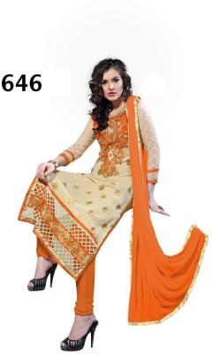 Fladorfabric Georgette Embroidered Semi-stitched Salwar Suit Dupatta Material