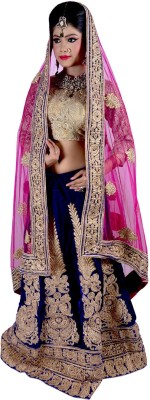Vogue4all Velvet Embroidered Semi-stitched Lehenga Choli Material