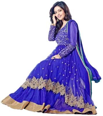 Bapa Sitaram Fashion Net Embroidered Semi-stitched Salwar Suit Material