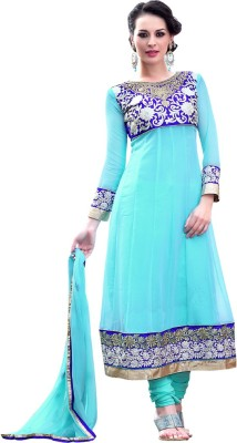 Livaaz Georgette Embroidered, Solid, Self Design Semi-stitched Salwar Suit Dupatta Material