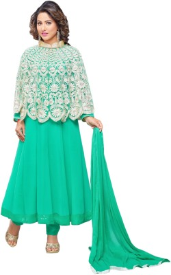 MF Georgette Embroidered Semi-stitched Salwar Suit Dupatta Material
