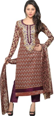 VH Fashion Georgette Embroidered Semi-stitched Salwar Suit Dupatta Material