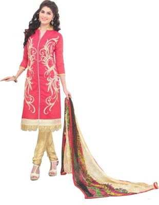 eShopIdea Chanderi Embroidered Salwar Suit Dupatta Material