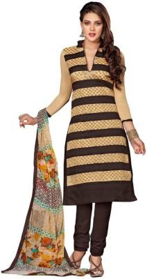 NANCYFASHION. Chanderi Embroidered Semi-stitched Salwar Suit Dupatta Material