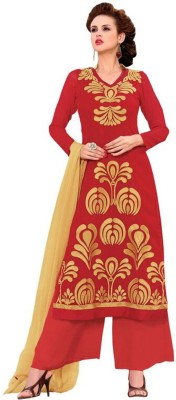 Lizafab Georgette Embroidered Semi-stitched Salwar Suit Dupatta Material