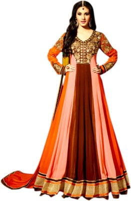 Ethnic Bliss Lifestyles Georgette Solid Semi-stitched Salwar Suit Dupatta Material