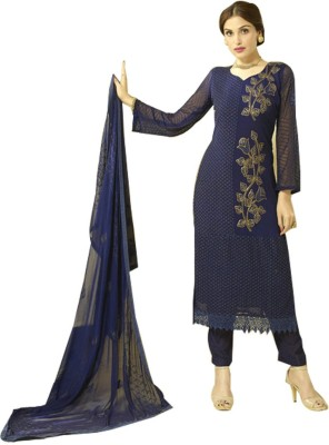 Wedding Villa Georgette Embroidered Semi-stitched Salwar Suit Dupatta Material