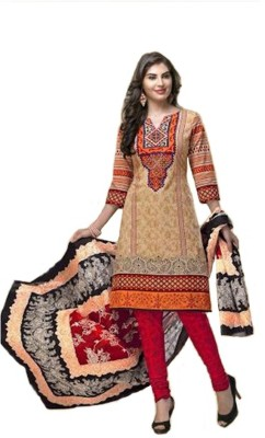 Shop Well Soon Cotton Printed Salwar Suit Dupatta & Waistcoat Material