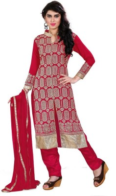 Accurate Collection Georgette Embroidered Semi-stitched Salwar Suit Dupatta Material