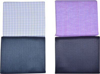 Men in Black Cotton Polyester Blend Solid, Checkered Shirt & Trouser Fabric