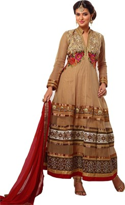 Shoppie Zone Georgette Embroidered Semi-stitched Salwar Suit Material