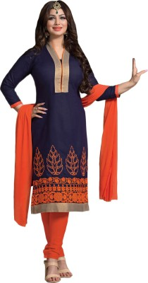 siya designer Cotton Embroidered Semi-stitched Salwar Suit Dupatta Material