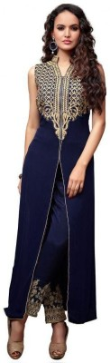 SMARTLOOK Georgette Embroidered Semi-stitched Salwar Suit Material