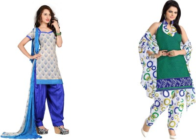 The Four Hundred Jute, Cotton Polyester Blend Embroidered, Printed Salwar Suit Dupatta Material