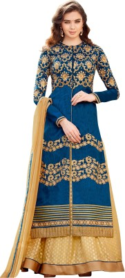 Hitansh Fashion Silk Embroidered Semi-stitched Salwar Suit Dupatta Material