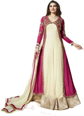Jolly Georgette Embroidered Semi-stitched Salwar Suit Dupatta Material