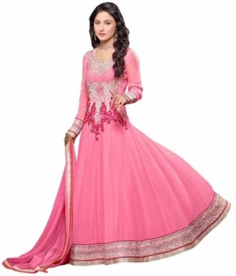 DANEVFASHION Georgette Embroidered Semi-stitched Salwar Suit Dupatta Material