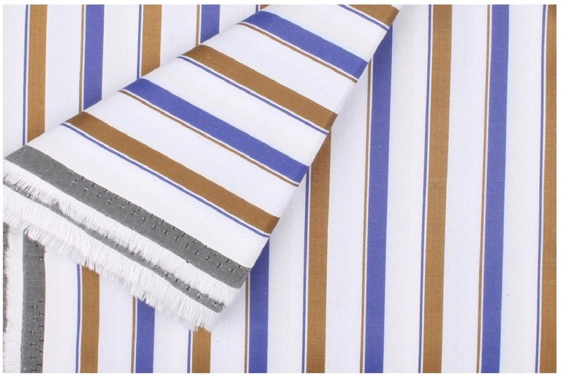 1 PCS SHIRT FABRICS Cotton Polyester Blend Striped Shirt Fabric, Shirt & Trouser Fabric, Multi-purpose Fabric(Un-stitched)